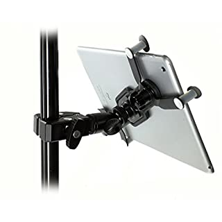 """iShot G7 Pro iPad Pro 12.9/11 / 9.7/10.5 Metal Tripod Mic Music Stand Mount + HD Metal Pipe Pole Bar Clamp with 360° Swivel Ball - Works with Cases - Compatible with All iPads and Tablets 7"""" - 13"""""""