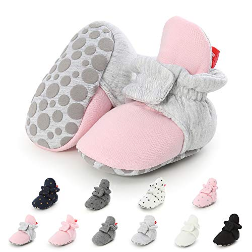 Boys Bootie Slippers (Meckior Save Beautiful Newborn Infant Baby Girls Boys Warm Fleece Winter Booties First Walkers Slippers Shoes (6-12 Months Infant, D-Pink)