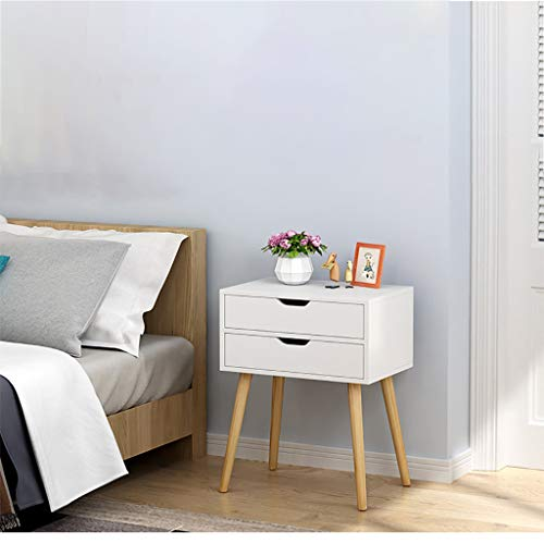 Maikouhai Assemble Storage Cabinet Bedroom Bedside Locker Nightstand End Table (2 Drawers - 15.7x11.8x23.6in)