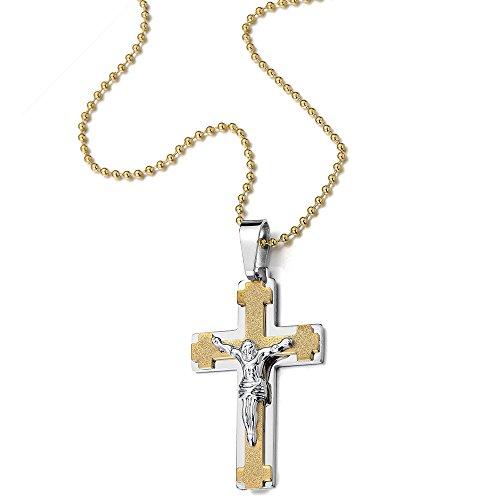 Jésus Christ Croix Crucifix Pendentif Collier Homme - Acier - Deux tons or et d'argent - avec 60CM Chaîne de Boule
