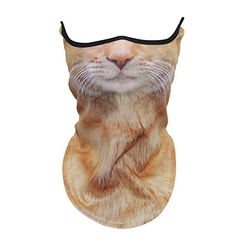 WTACTFUL Animal 3D Neck Gaiter Warmer Windproof Face Mask Scarf Headband Bandana Protection Cover for Cycling Motorbike Motorcycle Skiing Snowboard Hunting Hiking Halloween Cosplay Party Cat #01 -