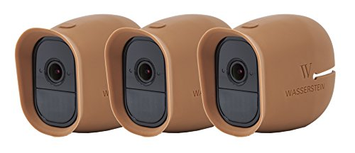 (3 x Silicone Skins Compatible with Arlo Pro & Arlo Pro 2 Smart Security - 100% Wire-Free Cameras - by Wasserstein (with Sunroof) (Brown))
