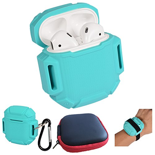UOSOSO AirPods Case Protective Silicone Cover and Skin with Carrying Bag Travel Case for Apple Airpods Charging Case (Teal)
