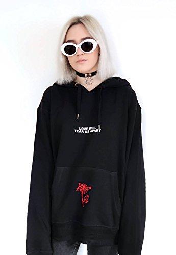 Yangelo Femmes Rose Motif Hoodied Personnes Sweat-shirt Sont Black1 Pull-over Noir À Capuchon Poison