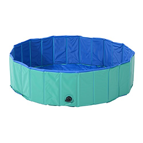 "PawHut 12"" x 60"" Collapsible PVC Pet Foldable Swimming Pool Dog Bathing Tub - Green / Blue"