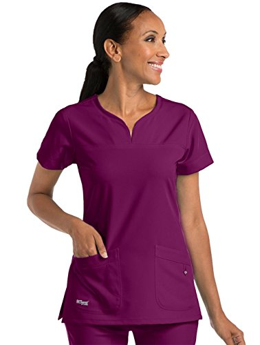 - Signature by Grey's Anatomy Women's Notch Neck Solid Scrub Top XXXXX-Large Wine