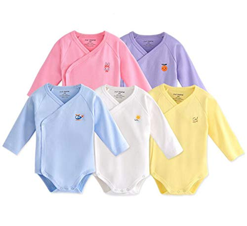 Infant Baby Boys Girls Long Sleeves Onesies Cotton Side Snap Bodysuit Fall Winter Cloths Outfit (5-Pack, 3-6 Months)