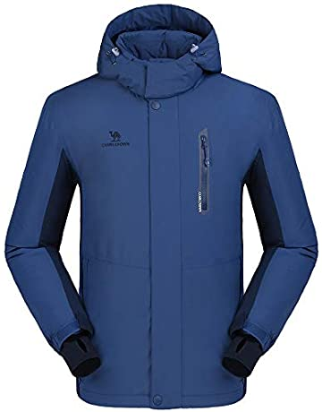 CAMEL CROWN Men s Waterproof Jacket, Windproof Ski Rain Snow Jacket Winter  Warm Fleece Jackets with 87a042aa85