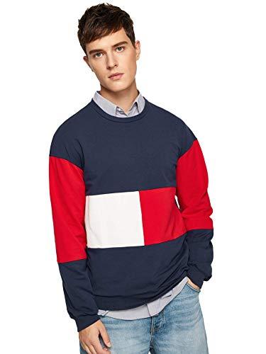 SweatyRocks Men's Cotton Color Block Crewneck Fleece Sweatshirt Casual Long Sleeve Pullover T-Shirt Top Multi Medium