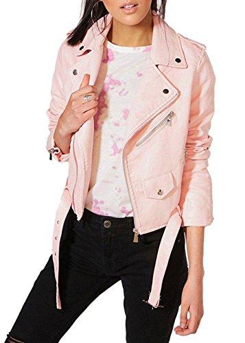 Donne Style Pelle In Vintage Delle Donna Rock Bikers Cuccetta Giacca Montato Rosa Nero Da UvtqxqY
