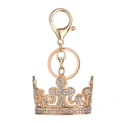 - Adorable Elegant Metal Ring Queen Crown Crystal Big Key Ring Keychain BZ786 (Silver, One)
