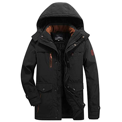 OMINA Mens Fleece Thicked Cotton-Padded Coat Hoodie, Autumn Warm Casual Oversized Zipper Outwear Black