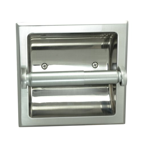 Satin Nickel Toilet Tissue - Designers Impressions Satin Nickel Recessed Toilet / Tissue Paper Holder All Metal Contruction - Mounting Bracket Included