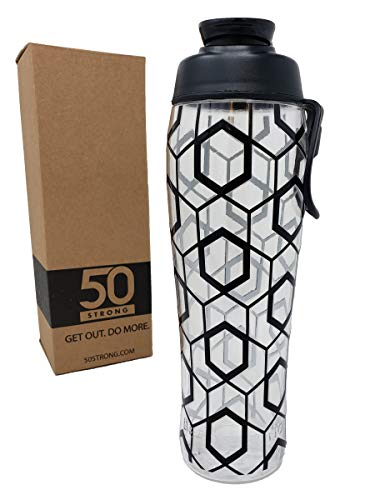 (50 Strong BPA Free Gym Water Bottle with Ice Guard Flip Top Cap & Carry Loop - Cute Designer Prints - Perfect for Men, Women, Sports & Workout - 24 oz. - Made in USA (Black Geometric, 30 oz.))