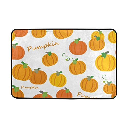 J.Lambert Vintage Happy Halloween Thanksgiving Day Pumpkins Washable Non Slip Doormat Doormats Area Rug for Entrance Way Front Door Indoor Outdoor 23.6 by 15.7 Inches 40 x 60 cm