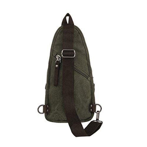 Verde L 19 x la de bolso W lona moda la la pecho 8 retro paquetes H coreano cm 35 de Wewod Paquete de hombre x 1WSwq7Za