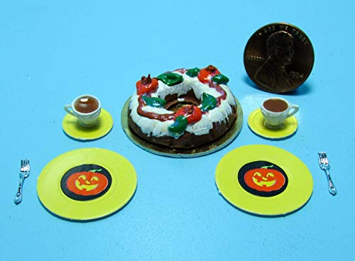 (ShopForAllYou Figurines and Statues Dollhouse Miniature Fall/Halloween Bundt Cake with Tea, Plates & Forks ~)
