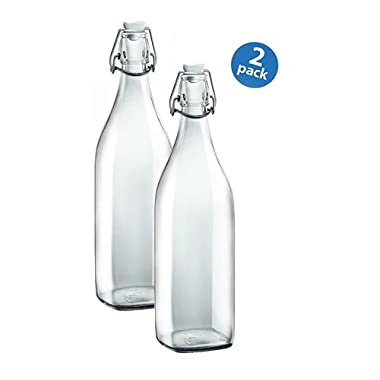Bormioli Rocco Square Swing Bottle 33.75 Ounce, Pack of 2