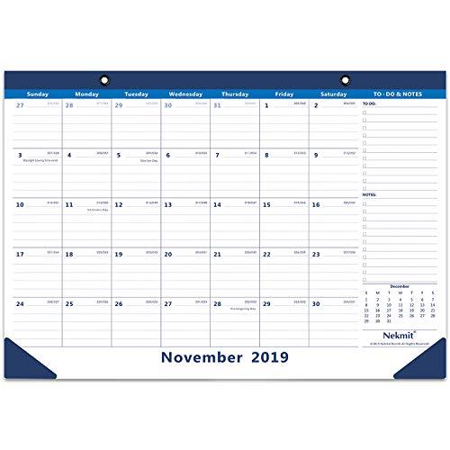 Nekmit 2020 Monthly Desk Pad Calendar, Wall Calendar Runs from Now Through December 2020, Ruled Blocks, 16-3/4 x 11-4/5 Inches, Blue (17 X Table)