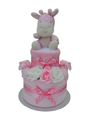 Girls 2 Tier Spotty Giraffe Nappy Cake Baby Shower Hamper Gift - Free UK Delivery! Packaged to Perfection