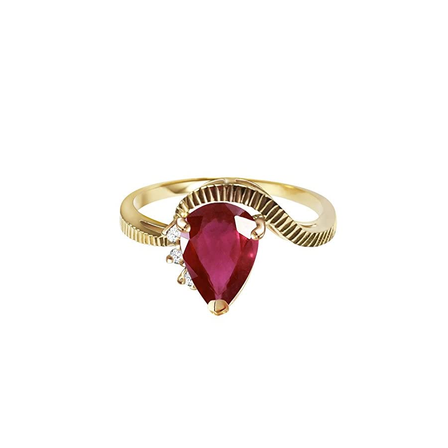 1.52 Carat 14k Solid Gold Ring with Natural Ruby and Diamonds