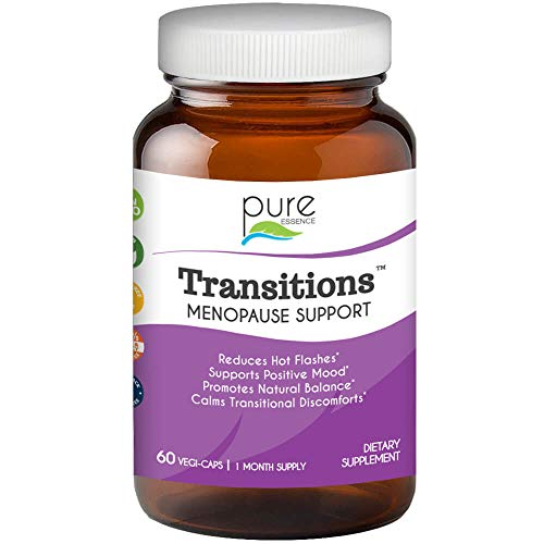 Transitions by Pure Essence Labs - Natural Menopause Relief Supplement - Promotes Hormone Balance, Reduces Hot Flashes, Mood Swings, Night Sweats - 60 Capsules