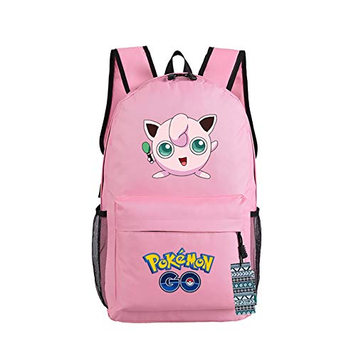 U&M 600D Oxford Pocket Monster Backpacks Anime Cartoon Cosplay Shoulder Bags Schoolbags Daypack Pink Jigglypuff
