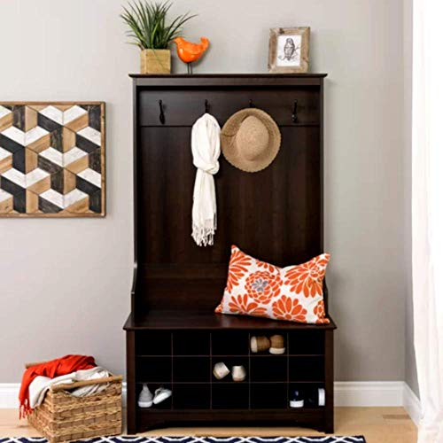 Compact Hall Tree Entry Bench Minimalist Corner Entryway Wooden Hall Tree with Shoe Storage Bench, Espresso Finish Classic Contemporary Industrial Hall Tree & E-Book