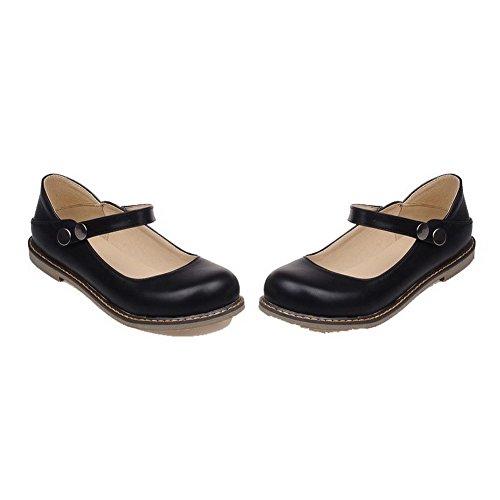 Odomolor Women's Low-Heels PU Solid Button Round-Toe Pumps-Shoes, Black, 34
