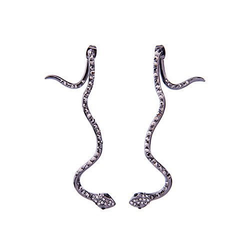 Feximzl Punk Alloy Snake Earrings Crystal Mosaic Drop Snake Earrings for Women and Girls Gifts (Black)