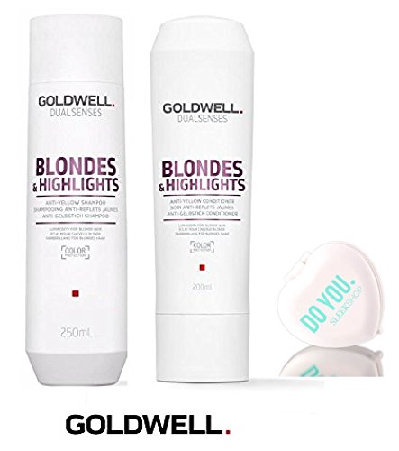 Goldwell Dualsenses BLONDES And HIGHLIGHTS Anti-Yellow Shampoo & Conditioner Duo Set (with Sleek Compact Mirror) (10.1 oz / 300ml Duo ()
