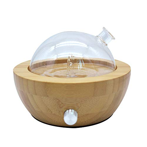 Clear Glass Diffuser - Bamboo and Glass Essential Oil Aroma Nebulizing Diffuser, Aromatherapy Diffuser with LED Night Light NO Heat NO Water for SPA Home Office Bedroom