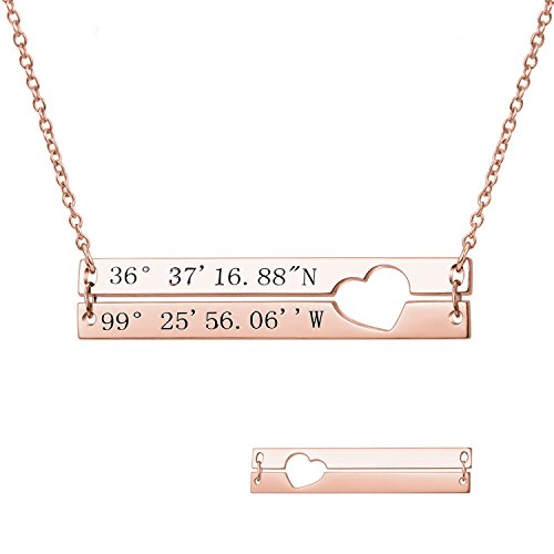 LONAGO Custom Initial Double Bar Necklace Personalized Alphabet Name Layered Pendant Heart Charm Coordinates Nameplate Engraved Vanlentines Jewelry Gift (Rose-Gold-Plated-Silver)