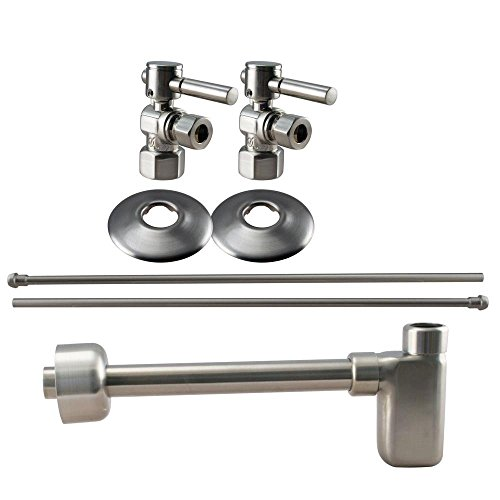 Westbrass D19103BLK-07 1/2-Inch IPS Lever Handle Angle Stop Complete Pedestal Sink Installation Kit with 1-1/4-Inch Euro Flat Trap, Satin Nickel