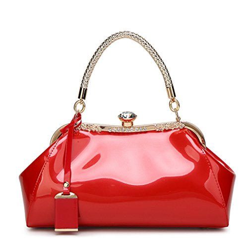 Patent Hobo Leather Large (C&L Fashion Patent Leather Handbags KissLock Structured Womens Purse with Removable Strap (Red))