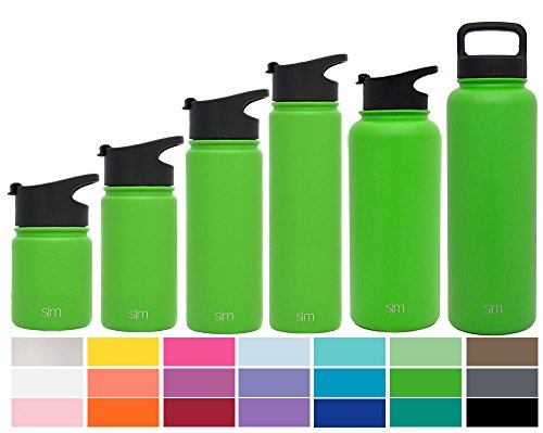 Simple Modern 14 oz Summit Kid's Water Bottle + Extra Lid - Vacuum Insulated Powder Coated Skinny Rambler 18/8 Stainless Steel Flask - Green Hydro Travel Mug - Candy Apple