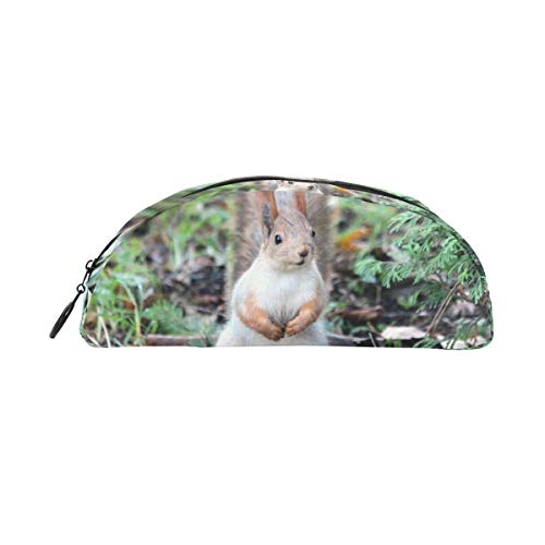 MUOOUM Cute Squirrel Wildlife Pencil Case Semicircle Stationery Pen Bag Pouch Holder for School Office Supplies