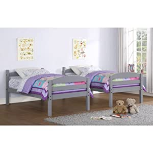 Sturdy Mainstays Twin Over Twin Wood Bunk Bed, Multiple Finishes (Gray)