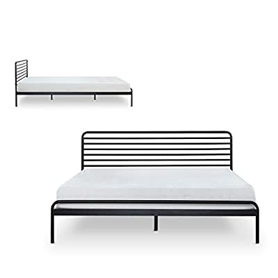 Zinus Tom Metal Platform Bed Frame / Mattress Foundation / No Box Spring Needed / Wood Slat Support / Design Award… - 10 inch high low profile foundation supports memory foam, Spring, and Hybrid mattresses Strong Steel frame structure with wood slats prevents sagging and increases mattress life Assembles easily in minutes/ Mattress sold separately - bedroom-furniture, bedroom, bed-frames - 41doRrO6cTL. SS400  -