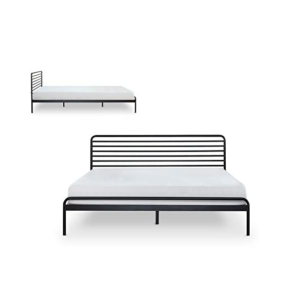 Zinus Tom Metal Platform Bed Frame / Mattress Foundation / No Box Spring Needed / Wood Slat Support / Design Award… - 10 inch high low profile foundation supports memory foam, Spring, and Hybrid mattresses Strong Steel frame structure with wood slats prevents sagging and increases mattress life Assembles easily in minutes/ Mattress sold separately - bedroom-furniture, bedroom, bed-frames - 41doRrO6cTL. SS570  -
