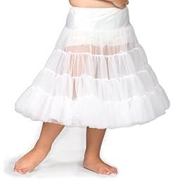I.C. Collections Little Girls White Bouffant Half Slip Petticoat Tea Length, 4T