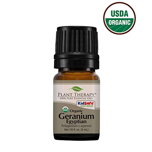Plant Therapy Geranium Egyptian Organic Essential Oil 100% Pure, USDA Certified Organic, Undiluted, Natural Aromatherapy, Therapeutic Grade 5 mL (1/6 oz)