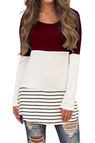 CASILY Women's Casual Back Lace Color Block Long Sleeve T-Shirt Blouses