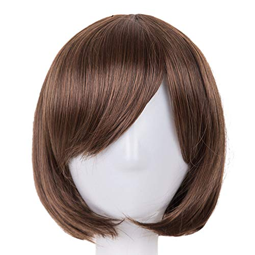 (Short Wavy Wig Synthetic Heat Resistant Fiber Women Hair Halloween Carnival Hairpiece,1B/30HL,12inches)