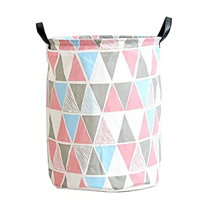"Pauwer Fabric Nursery Hamper Canvas Laundry Basket Foldable with Waterproof PE Coating Large Storage Laundry Hamper for Kids Boys and Girls Office, Bedroom, Clothes, Toys(17.3""x13.8"",Triangle) - LARGE SIZE: 17.3 inches height and 13.8 inches diameter. Great for toy storage. LIGHTWEIGHT & FOLDABLE nursery laundry hamper for easy handling and storage for toys office, bedroom, clothes Outside Fabric: Canvas. All fabric laundry hamper, no inside wire or structure. Can be put away easily and portable - laundry-room, hampers-baskets, entryway-laundry-room - 41doS3q%2BFKL. SS400  -"