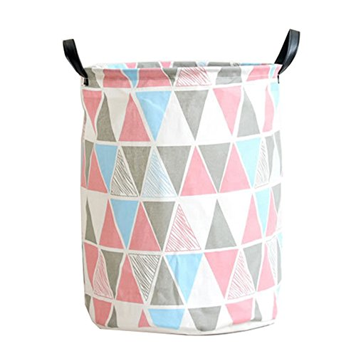 "41doS3q%2BFKL - Pauwer Fabric Nursery Hamper Canvas Laundry Basket Foldable with Waterproof PE Coating Large Storage Laundry Hamper for Kids Boys and Girls Office, Bedroom, Clothes, Toys(17.3""x13.8"",Triangle)"