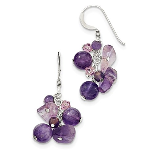 ICE CARATS 925 Sterling Silver Purple Amethyst Bead/lavender Crystal Quartz Drop Dangle Chandelier Earrings Fine Jewelry Ideal Gifts For Women Gift Set From Heart (Earrings Lavender Beads)