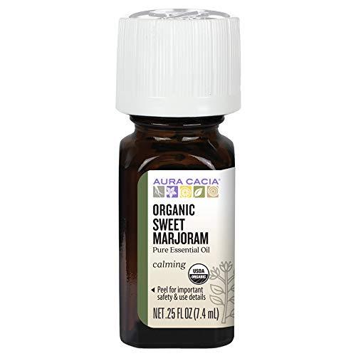 Aura Cacia Certified Organic Pure Sweet Marjoram Essential Oil | 0.25 fl. oz. | Origanum majorana