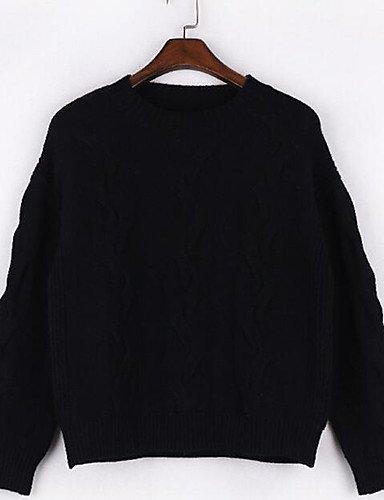 BaiChunYunYi Damen Standard Strickjacke-Lässig Alltäglich Einfach Solide Rundhalsausschnitt Langarm Baumwolle Frühling Herbst Mittel Mikro-elastisch