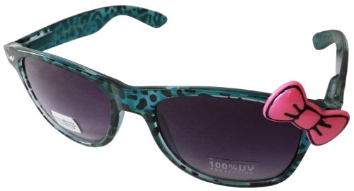 Sanrio Hello Kitty Animal Print Style Designer Inspired Sunglasses with Bow - Teal Cheetah Spots with Pink - Ray Print Cheetah Bans